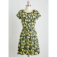 Fruits Short Length Short Sleeves A-line When Life Gives You... ($60) ❤ liked on Polyvore featuring dresses, apparel, fashion dress, multi, a line sundress, short sundress, short dresses, short sleeve sun dresses and lemon dress