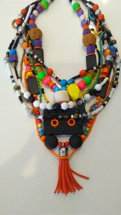 Necklace with Dictaphone (old skool!) Cassette tape, resin and glass beads