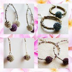 Pendientes de la colección Treasures by Bee 2012. Con beaded beads realizadas con miyuki.   Más información en nuestra tienda Artesanum http://maybeehandmade.artesanum.com