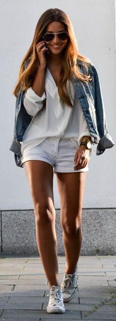 Denim Jacket H&M | Blouse Mango | Shorts H&M | Sneakers Converse | Shades Rayban