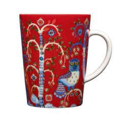 """iittala Taika Red Mug Enjoy a cup of coffee or a hot chocolate in the iittala Taika Red Mug. Meaning """"Magic"""" in Finnish, the Taika pattern by Klaus Haapaniemi features fanciful foxes and ornate owls inhabiting a mysterious . Nordic Design, Scandinavian Design, Feng Shui, Salon Shabby Chic, Pretty Mugs, Red Mug, Decorative Items, Decorating Your Home, Tableware"""
