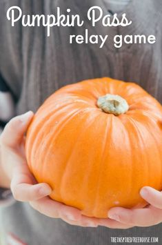 Fun Indoor Games for Kids: Pumpkin Relay Race for Kids - The Inspired Treehouse