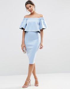 Image 4 ofASOS Bardot Off The Shoulder Ruffle Crop Midi Dress