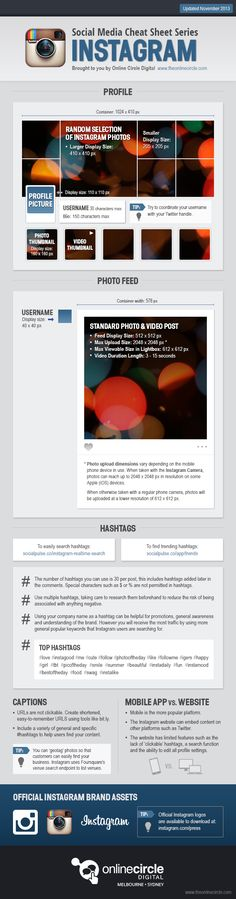 Online Circle Digital | Instagram Sizes and Dimensions Cheat Sheet 2013