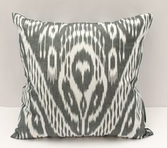 20x20 inches square ikat cotton pillow cover gray white by SilkWay