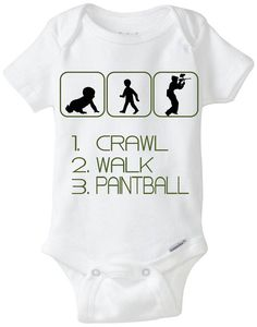 "Paintball Baby Boy Gift: Gerber Onesie brand body suit ""Crawl Walk Paintball"" - Available in Preemie Sizes - Perfect new baby gift for Paintball Parents!  Available Here: www.etsy.com/shop/LittleFroggySurfShop"