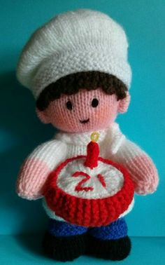 Knitted chef made for Noah's Ark toddler group's 21st birthday. (Pattern is one of Jean Greenhowe's Little Gift Dolls.)