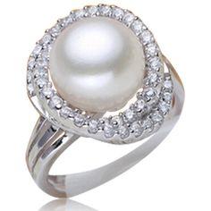 Perla Dolce Vita- Freshwater Pearl CZ Diamond White Gold Cocktail Ring