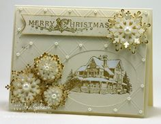 Christmas Lodge -  Ann Schach, Stamp Sets: Christmas Lodge (retired, digital version available), Gorgeous Grunge; Ink: Baked Brown Sugar; Card Stock: Very Vanilla; Tools: Big Shot, Ovals Collection Framelits, Northern Frost Decorative Strip (retired), Hexagon Punch, Sponge Dauber, White Signo Gel Pen, Simply Scored with Diagonal Plate; Glitz and Glam: Pearl Basic Jewels