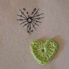 Little heart chart Crochet Bookmark Pattern, Crochet Jewelry Patterns, Crochet Hair Accessories, Crochet Bookmarks, Crochet Flower Patterns, Crochet Diagram, Crochet Chart, Crochet Motif, Crochet Flowers