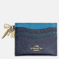 Gift Boxed Charm Flat Card Case in Colorblock Leather