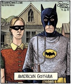 Batman is as American as apple pie and Grant Wood's American Gothic.The Batman depicted in Dan Piraro's Bizarro Comics is clearly that of Adam West. But perhaps the Robin is Carrie Kelley. American Gothic Painting, Grant Wood American Gothic, American Gothic Parody, Comics Illustration, Illustrations, Bizarro Comic, Iowa, Comics Kingdom, Mona Lisa