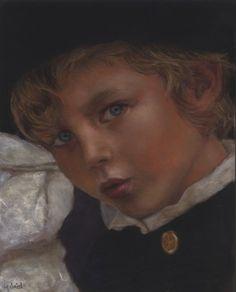 Original Pastel. 8x10in Portrait of a boy by Jean-François Le Saint (140218-2)