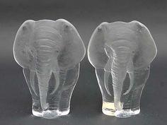 2 Mats Jonasson swedish art glass Elephants by DISTINCTIVEPURVEYOR