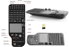 E-Blue Web@TV Wireless Keyboard Touchpad with Remote Control - Top, Side View And All Functions Description