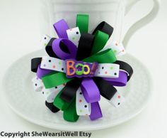 Halloween Hair Bow for Girls Holiday Hair Clip by SheWearsitWell, $9.50