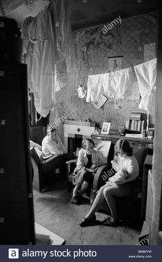 People living in the Gorbals tenement slums of Glasgow in 1969 Stock Photo