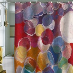 I adore this shower curtain for a kid's bathroom. It's so bright and fun.   Jenny Grumbles Hope Shower Curtain by DENY Designs
