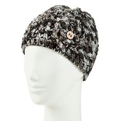 Women s Chunky Knit Beanie Hat with Flower Detail - Moonshadow 54a956fb6237