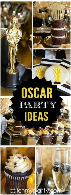 You have to see this glitzy, gold and black Oscar party! See more party ideas at Catchmyparty.com!
