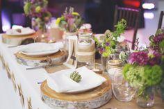 Purple + Green Rustic Wedding Centrepiece    The Flower Shop @ WG    www.WeddingGirl.ca