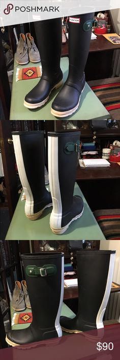 Hunter Rain Boots Unique Pair of Hunter Rain Boots - size 7 TTS. Navy blue with a cream colored stripe down the back. Buckles are a hunter green. In great pre loved condition. Minimal scuffs that are hardly even visible. Bottoms can be cleaned up real nice! Make me an offer! Hunter Boots Shoes Winter & Rain Boots