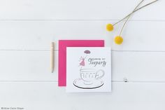 """Teaparty"" Grafik - Céline Claire - Graphic Design & Digital Art #illustration #invitation #tea #teaparty #girl #girlyillustration #umbrella #poster #artprint"