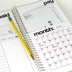 Bill Calendar -- note book with pockets for bills - new bill put in Pay pocket, mark due date on calendar, when paid cross off and move bill to paid pocket. At the end of the month, file! Awesome!