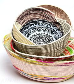 coil basket DIY - have wanted to try this, but hers are awesome, she altered the rope various ways, prior to 'coiling' alisaburke (CRAZY CREATIVE!!):