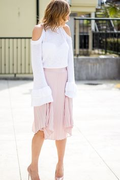 Pink High Waisted Midi Skirt with off white cold shoulder knit sweater http://finastyleblog.com/2017/04/high-waisted-midi-skirt/