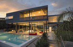 Imposing glass, steel and concrete residence in Pacific Palisades