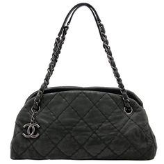 Chanel Black Glazed Calfskin Just Mademoiselle Medium Bowling Bag