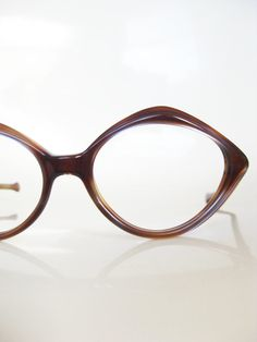 Vintage MOD 1960s Eyeglasses Sunglasses TORTOISESHELL Brown Blue Detail 60s Mad Men CHIC Indie Chocolate Nos New Old Stock