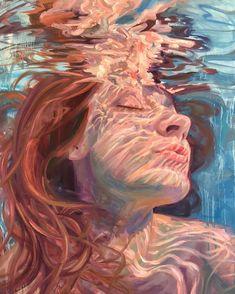 These Stunning Underwater Paintings By Isabel Emrich Will Take Your Breath Away - Under water - Art Art Sketches, Art Drawings, Underwater Painting, Breathing Underwater, Painting Abstract, Painting Art, L'art Du Portrait, Self Portrait Artists, Portrait Ideas