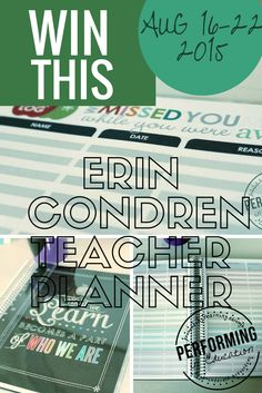 Today is the last day to enter to win an Erin Condren Teacher Planner personalized for you!