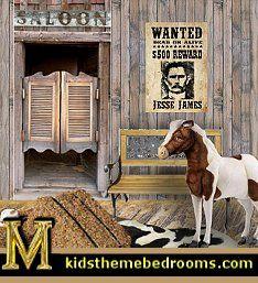cowboys Wild West Saloon wal decal mural-maries_manor_1
