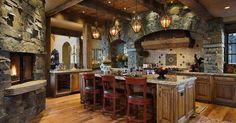Liked on Pinterest: rustic kitchen