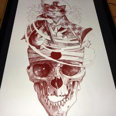 Added more stuffs to this kitty Samurai Skull Tattoos, Work Inspiration, Tattoo Designs, Tattoo Ideas, Skull Art, I Tattoo, Painting & Drawing, Samurai, Art Drawings