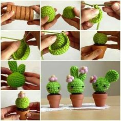 How to Make Amigurumi Crochet Kawaii Cactus.great prickly pear on the far right.perfect for those who forget when to water live plants. Kawaii Crafts, Kawaii Diy, Cute Crafts, Yarn Crafts, Diy Crafts, Crochet Cactus, Crochet Diy, Crochet Dolls, Crochet Flowers