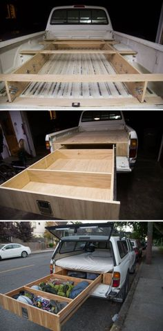This man built a custom truck camper with one huge drawer. What a great way to save space and maximize living room in a truck camper. Truck Bed Drawers, Truck Bed Storage, Camper Storage, Storage Drawers, Van Storage, Camping Ideas, Camping Snacks, Camping With Kids, Family Camping