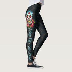Sugar Skull Day of the Dead Leggings Yoga Pants  $60.60  by MyDesignStudio  - custom gift idea