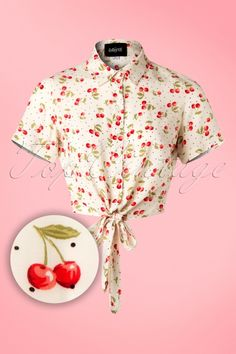 Collectif Clothing 50s Sammy Cherry cherries print Tie Blouse in Ivory white kersen ivoor wit