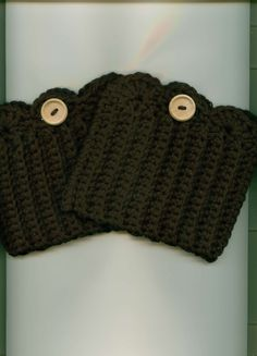 Crocheted Boot Cuffs/Toppers Skate Cuffs/Toppers BLACK by Kountry