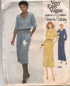 2065 Vogue Sewing Pattern Diane Von Furstenberg Misses' Pullover Dress Sz 10 UC…