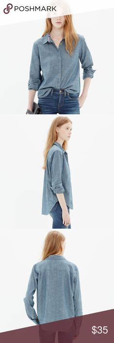 Madewell denim chambray button up collar shirt Perfectly tailored and completely essential, this lightweight denim shirt is the definition of low-key polish. Just a bit cropped in front for a hip finish. Could fit a smaller size too. Super cute plaid on inside collar Madewell Tops Button Down Shirts