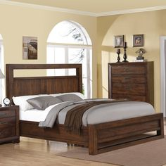 The Riata Wood Panel Storage Bed in Warm Walnut ships free from Humble Abode. The Riata Wood Panel Storage Bed is a contemporary styled bed featuring a footboard bench with storage drawers for additional functionality. Furniture, Bedroom Sets, Retail Furniture, Home, Riverside Furniture, Domestic Furniture, Bedroom Furniture, Bed, Upholstered Platform Bed