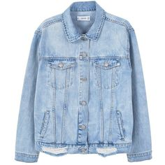 MANGO Oversize denim jacket (260 PEN) ❤ liked on Polyvore featuring outerwear, jackets, tops, denim, oversized jean jacket, distressed denim jacket, oversized denim jacket, collar jacket and oversized jacket