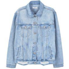 MANGO Oversize denim jacket (250 BRL) ❤ liked on Polyvore featuring outerwear, jackets, denim, denim jacket, mango jackets, blue denim jacket, oversized collar jacket, blue jackets and jean jacket
