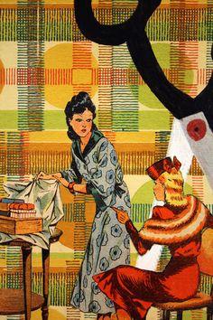 Collage tapisserie vintage couture dessin vintage paire de ciseaux dessin