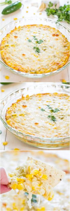 Hot+Cheesy+Corn+Dip+-+Two+kinds+of+cheese,+corn+and+green+chiles+make+for+an+irresistible+dip!+Easy+comfort+food+that'll+be+devoured!! Yummy Appetizers, Appetizers For Party, Appetizer Recipes, Cheap Appetizers, I Love Food, Good Food, Yummy Food, Tasty, Corn Dip Recipes